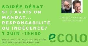 Affiche de la soirée débat avec les photos de Christian Morciaux et Stéphane Hazée.