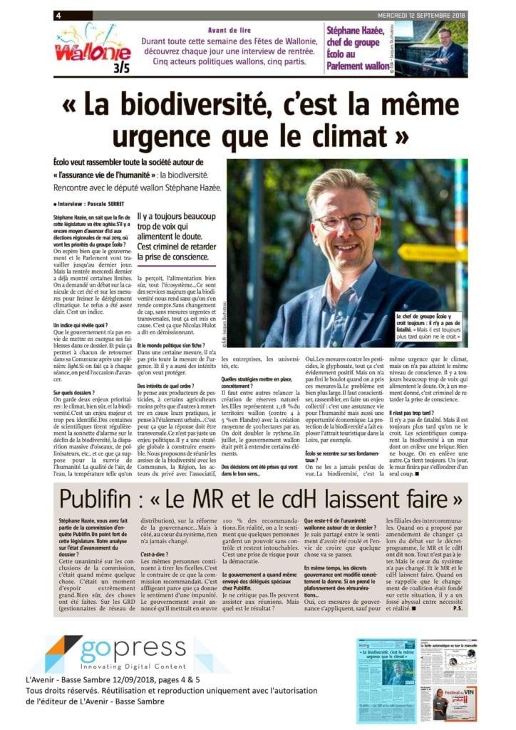 """Article de Pascale Serret sous le grand titre """"La biodiversité, c'est la même urgence que le climat"""",avec photo de Stephane Hazée"""