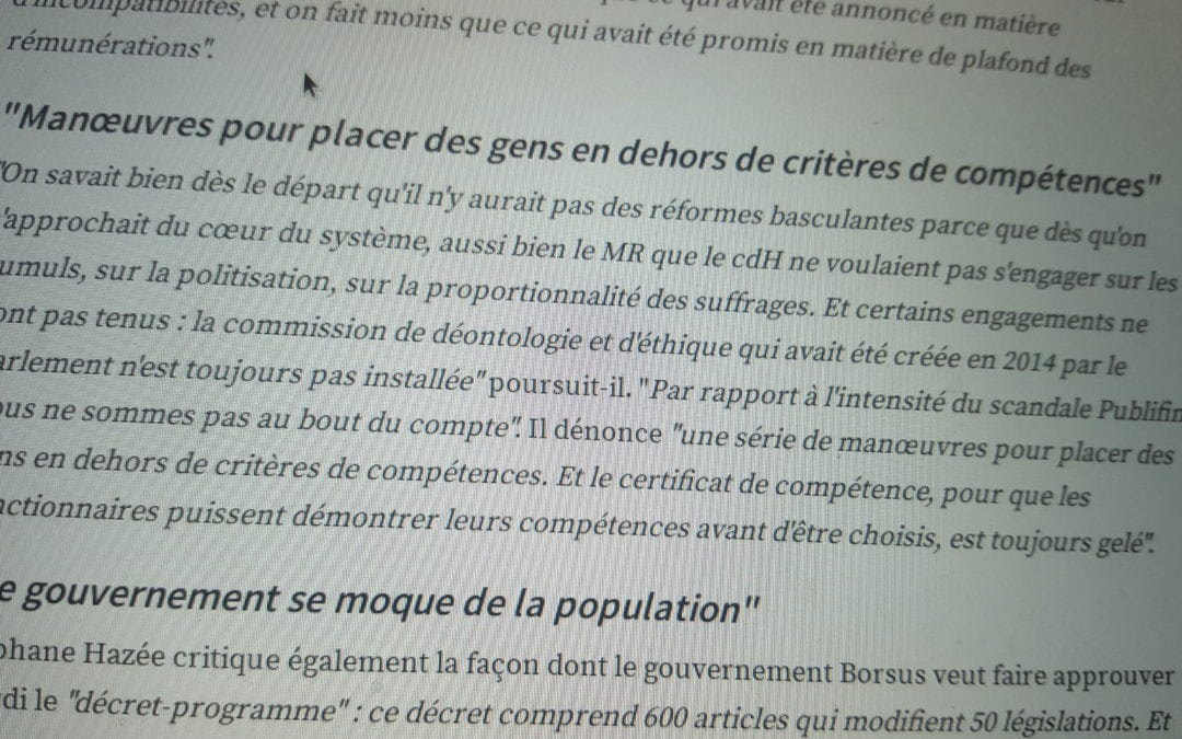 Carrousel des postes de management et de direction au sein du SPW : pour Stéphane Hazée, le Gouvernement se livre à des marchandages. C'est désespérant !
