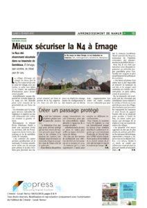 Article de l4Avenir sur la sécurisation de la N4 à Ernage
