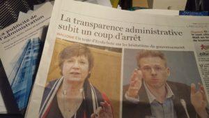 Image de l'article du Soir sur la transparence admnistrative