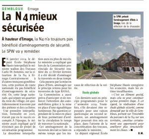 Article l'Avenir sur N4 Ernage